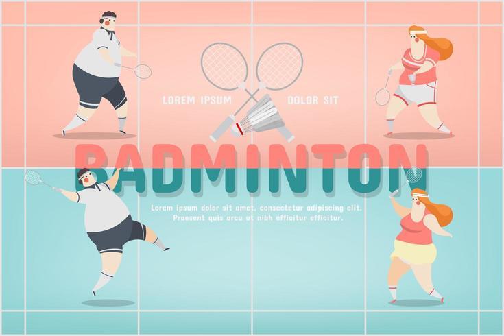 design de personagens de esporte de badminton vetor