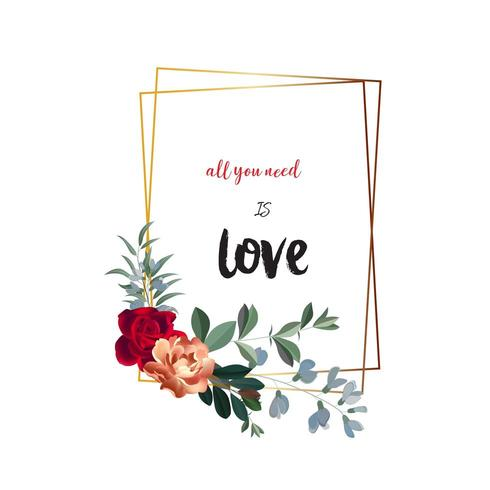Rectangle floral frame with space for text vector
