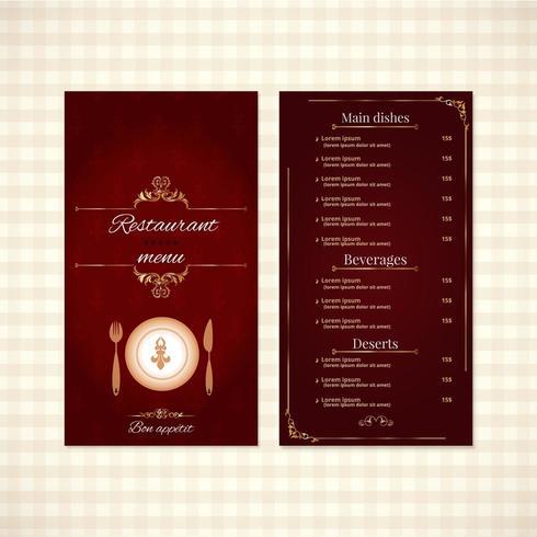 Design elegante del menu del ristorante