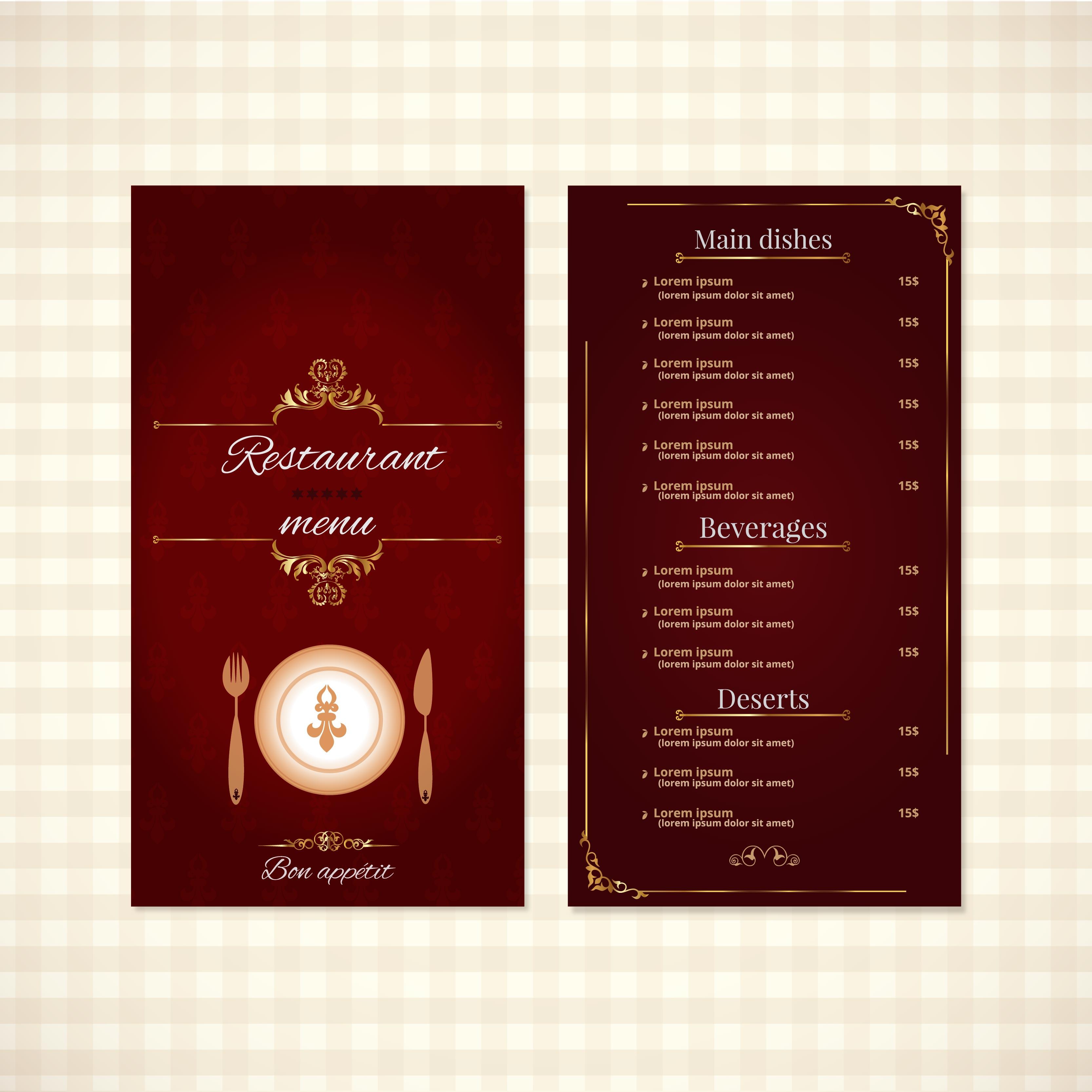 Elegant Restaurant Menu Design Download Free Vectors Clipart Graphics Vector Art