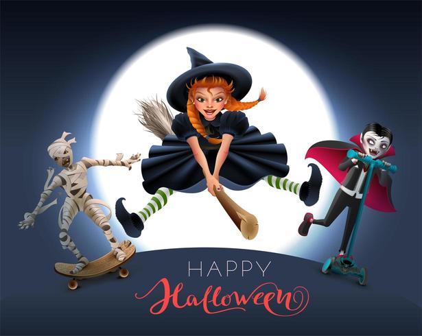 Glückliche Halloween-Grußkarte mit Hexe auf Besen, Mama und Vampir