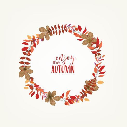 Autumn leaves circular frame