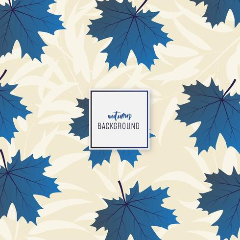 Blue and beige autumn leaf pattern vector