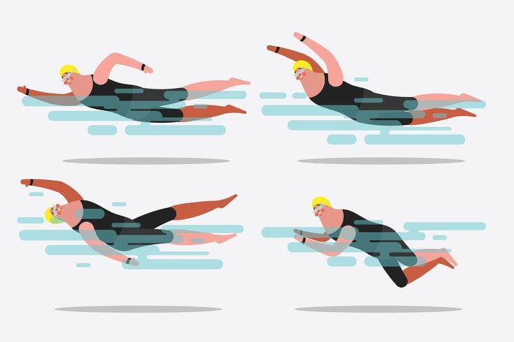 swimming postures vector