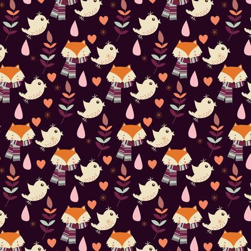 Herfst naadloze patroon met vossen en vogels