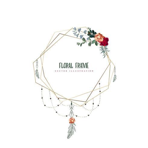 Cornice floreale geometrica con piume