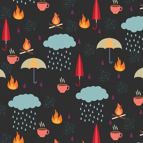 herfst patroon met regenwolken, parasols en andere items