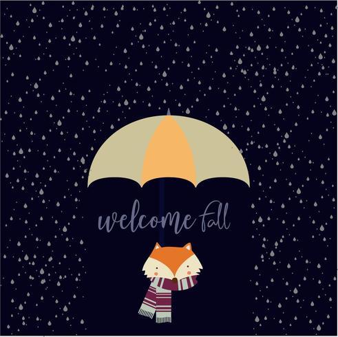 welkom herfstkaart met vos en regen