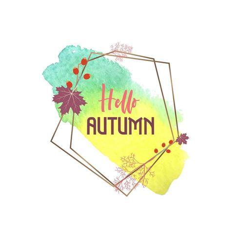 Hallo herfst aquarel wenskaart met geometrisch frame