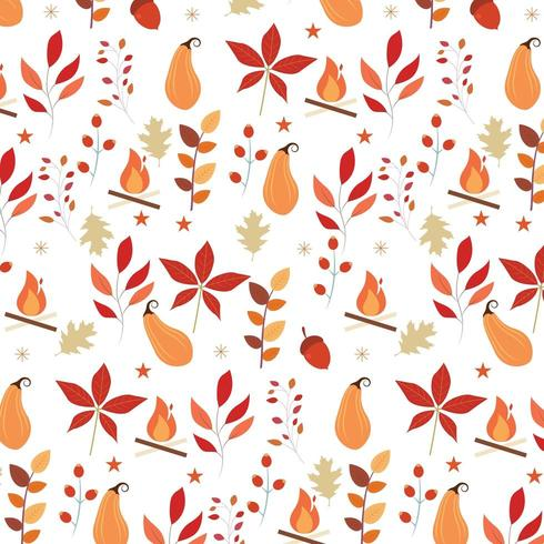 autumn seamless pattern with foliage, fire and other elements