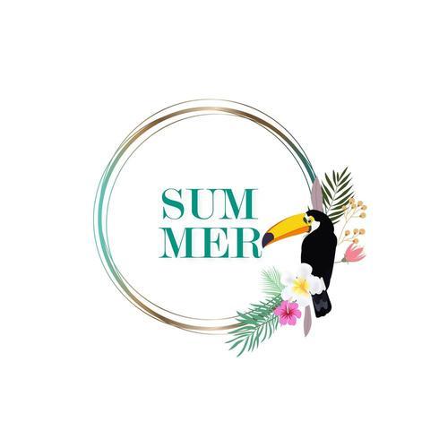 zomer frame met tropische bloemen en een toekan