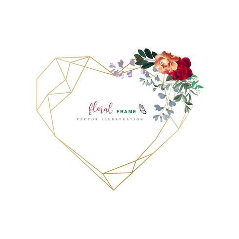 geometrisch hart bloemenframe