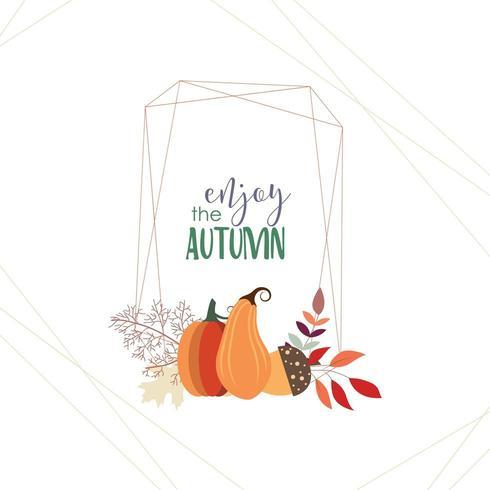 Carte d'automne avec cadre géométrique et citrouilles