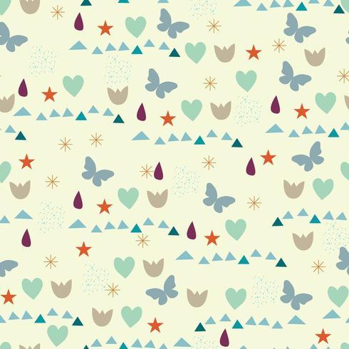 Outono padrão com gotas, corações, borboletas e outros elementos