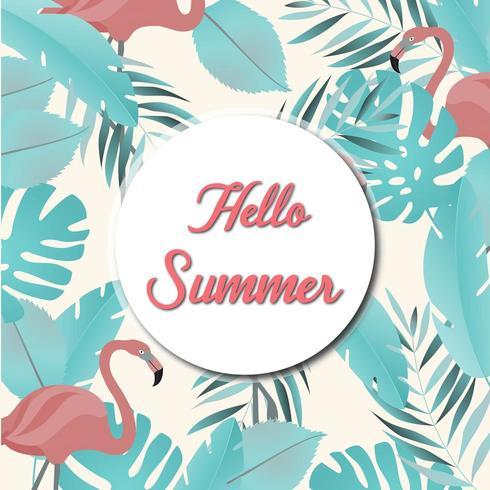 modèle d'été avec des feuilles et des flamants roses
