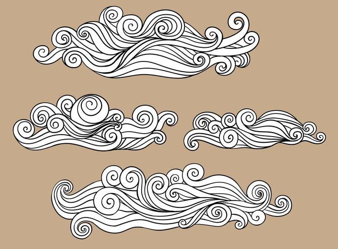 Modello dell'illustrazione in bianco e nero della decorazione delle nuvole dall'onda