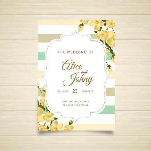 Gestreepte bruiloft uitnodiging ontwerp met bloemen