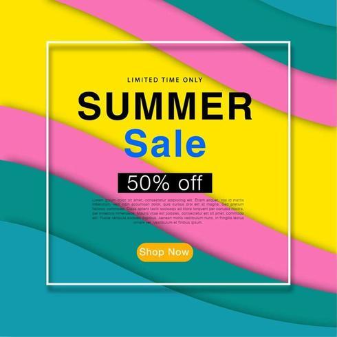 Imprimer une affiche de vente d'été coloré abstrait vague de fond vecteur