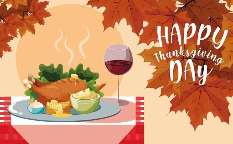 Turkey dinner background vector
