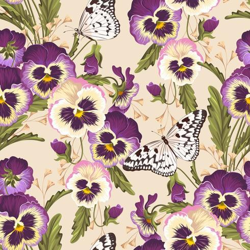 Vintage pansy seamless background with butterflies