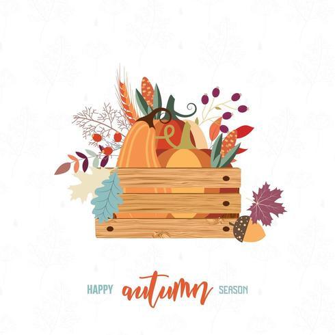 Oogstkaart met krat met herfstitems
