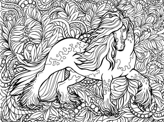 Eenhoorn en bloemen. Magisch dier. Vector kunstwerk. Zwart en wit, monochroom. Kleurboekpagina's voor volwassenen en kinderen.
