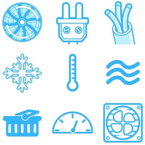Icônes de ligne de chauffage et de refroidissement