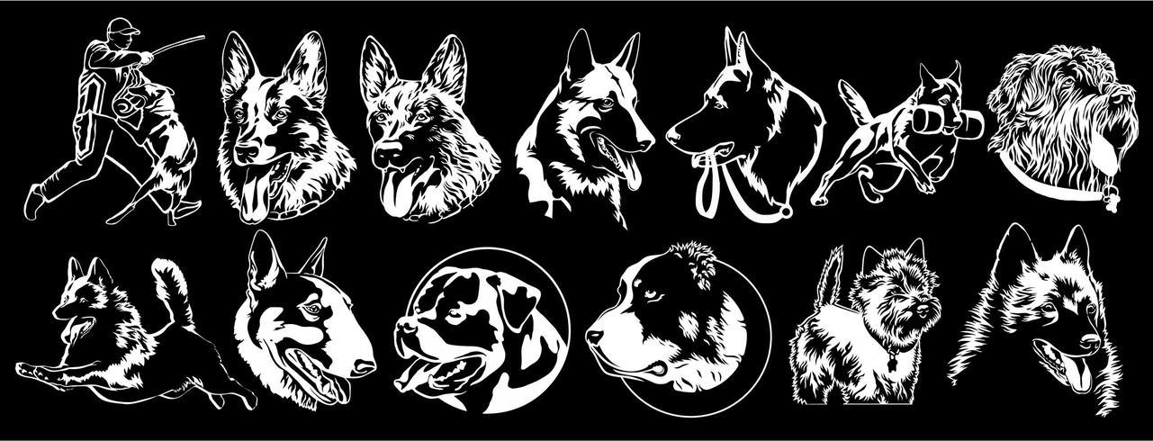 Hunde verschiedener Rassen zum Besticken geeignet