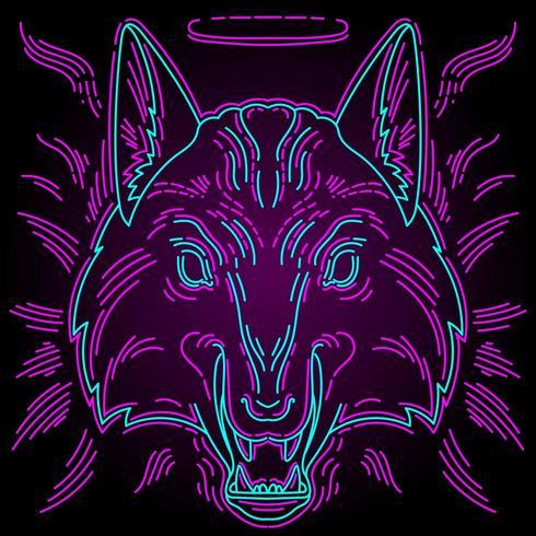 Neonwolfprint voor t-shirts