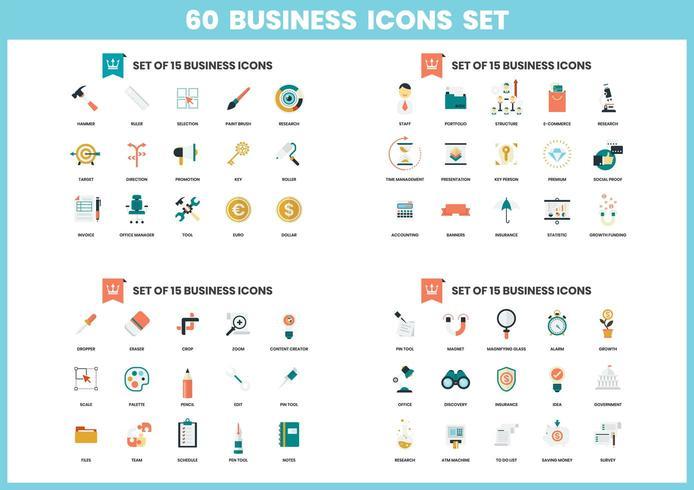 Conjunto de 60 iconos de negocios vector
