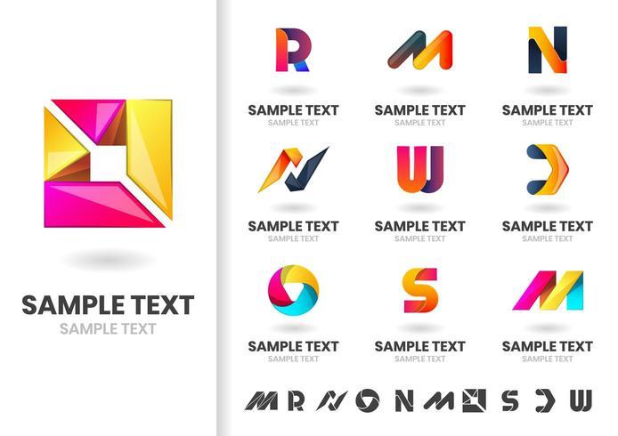 Moderne vectorvormen en letters