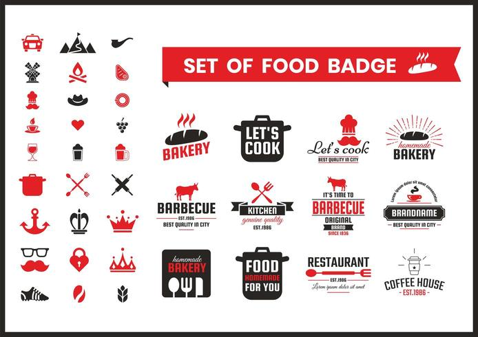 Restaurang Vintage Food Badges