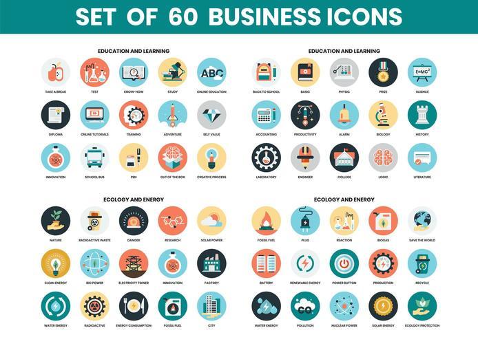 Conjunto de iconos de educación y ecología vector