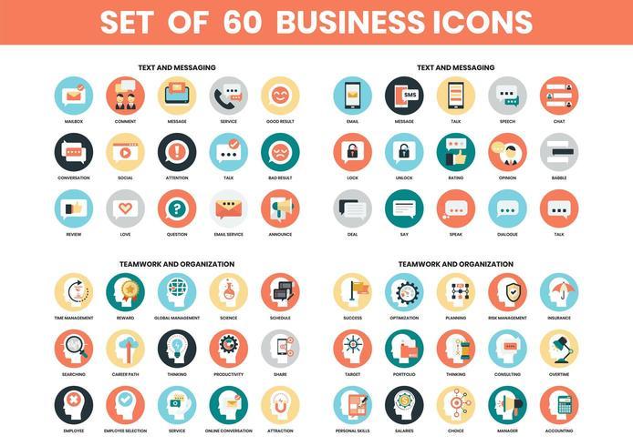 Conjunto de iconos de texto, trabajo en equipo y organización vector