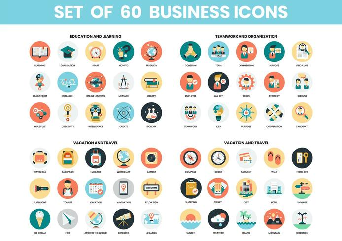 Education, travel and teamwork icons set