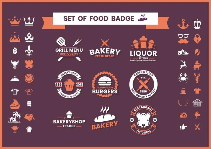 Set of restaurant and food badges