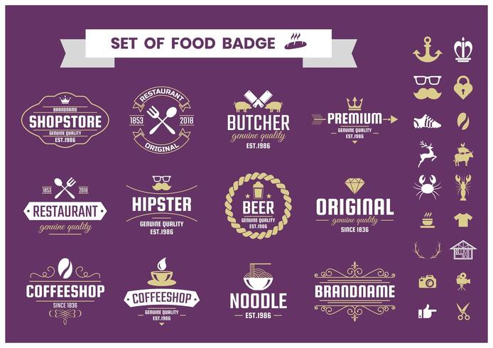Set of food badges