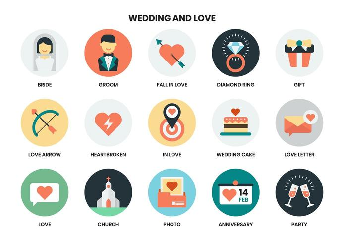 Wedding and Love icons set