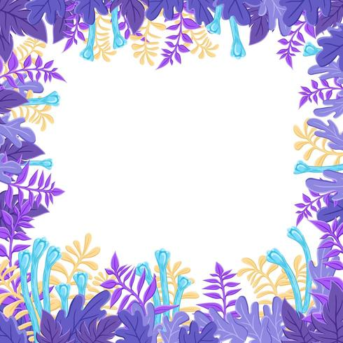 Stylized Purple Leaves Background Frame