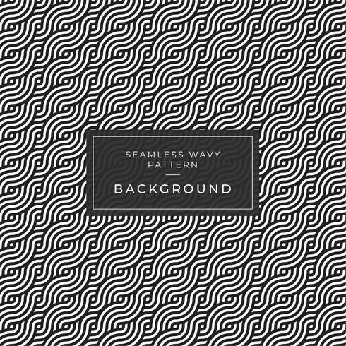 Geometric seamless monochrome repeating pattern with wavy lines