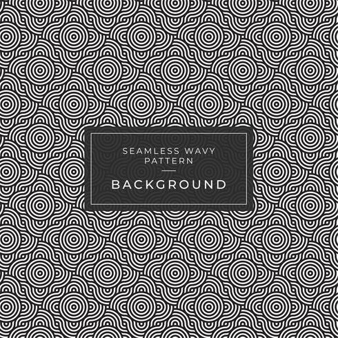 Geometric seamless monochrome repeating pattern with rounded wavy lines