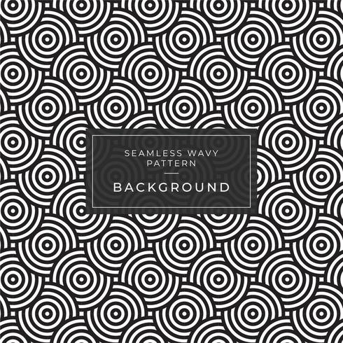 Geometric seamless monochrome repeating pattern with rounded stripes