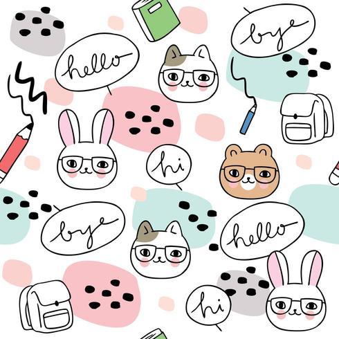 Cartoon cute back to school animals seamless pattern vector.