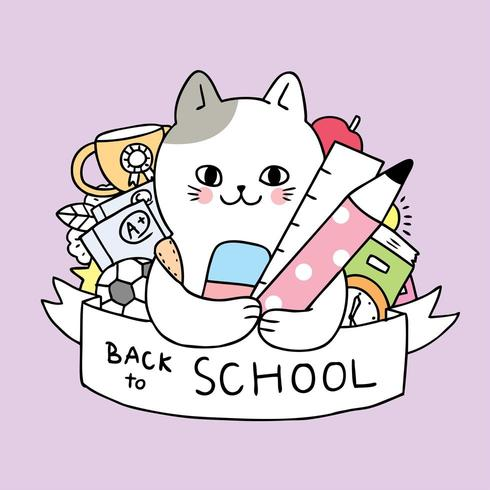 Cartoon cute back to school cat and stationary vector.