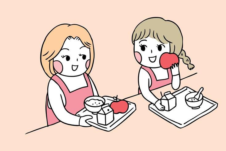 Back to school girls in canteen eating breakfast