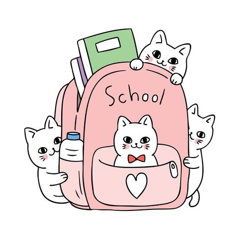 Desenhos animados bonitos de volta ao gato da escola no vetor do saco.