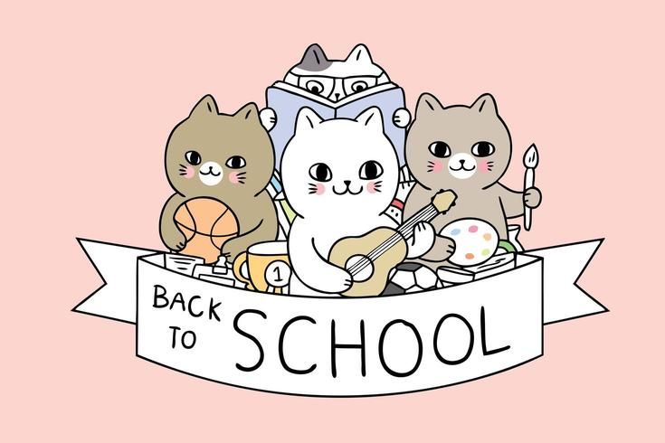 Cartoon cute back to school cats  vector.