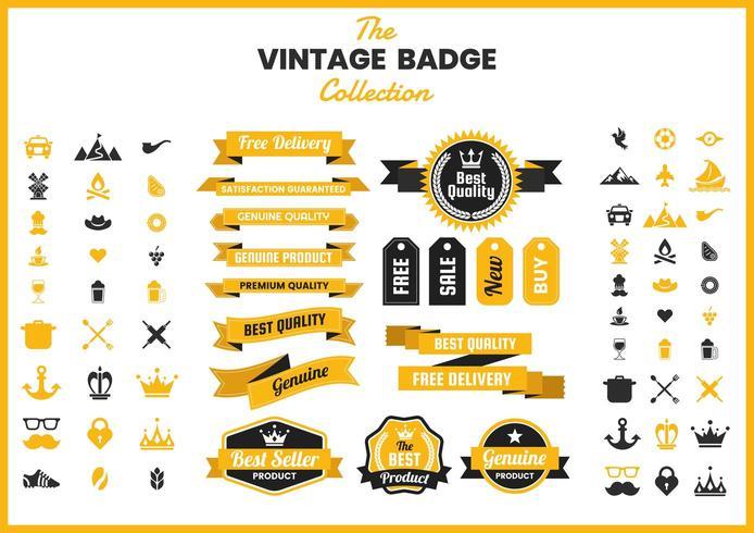 Gouden vintage badge-collectie
