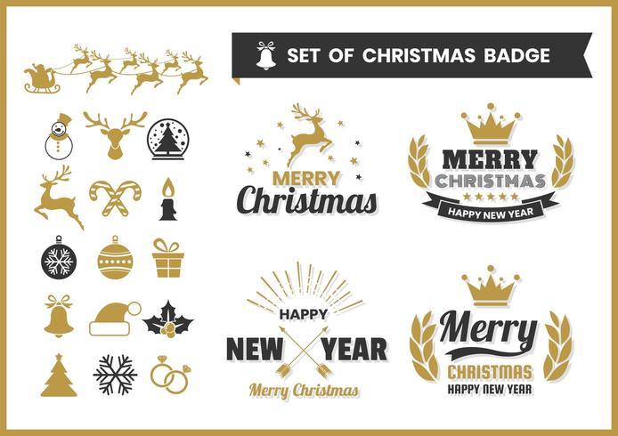 Retro Kerst badge set