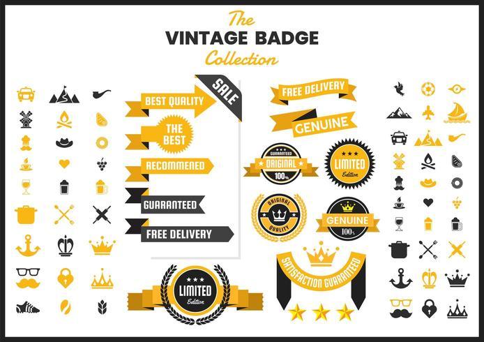 Coleção de distintivo dourado vintage